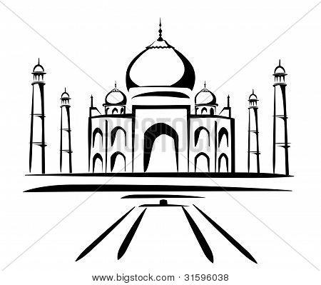 Taj Mahal Symbol In Black Lines