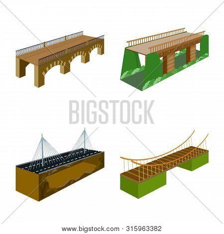 Vector Illustration Of Bridgework And Architecture Sign. Set Of Bridgework And Structure Vector Icon