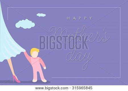 Happy Mothers Day Greeting Card. Little Baby Clings To Moms Dress. Purple Background With Congratula