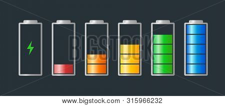 High To Low Power Batteri Charged Energy Indicator Level Set With Recharging Icon. Empty To Full Bat