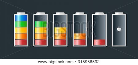 Battery Charge Indicator Icons Vector Icon Charging Level Battery Energy Powerfully Full Fun Funny P