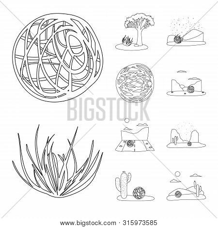 Vector Design Of Wilderness And Texas Sign. Collection Of Wilderness And Pasture Stock Symbol For We