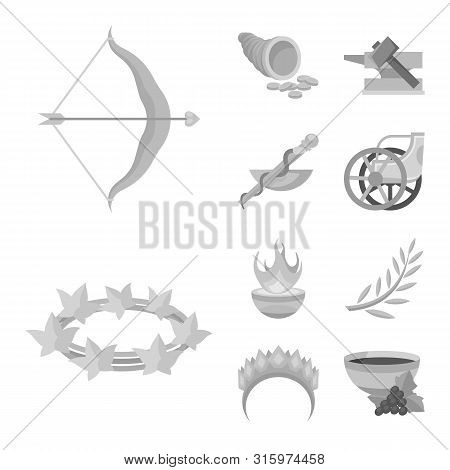Vector Illustration Of Ancient And Culture Symbol. Collection Of Ancient And Antique Stock Symbol Fo
