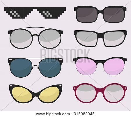Sunglasses Set, Summer Eyewear Sun Protection Sunglass. Vector
