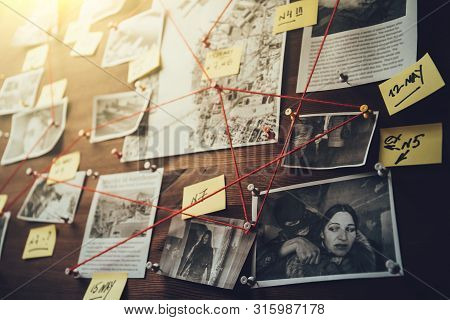 Detective Board With Photos Of Suspected Criminals, Crime Scenes And Evidence With Red Threads, Sele