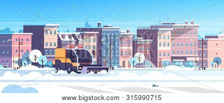 Snow Plow Truck Cleaning Urban Residential Area Streets Winter Snow Removal Concept Modern City Buil