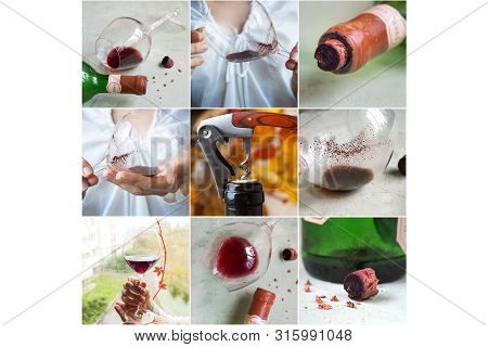 Collage With Different Views Of Sediment In A Glass Of Old Wine. Sediment In Wine.