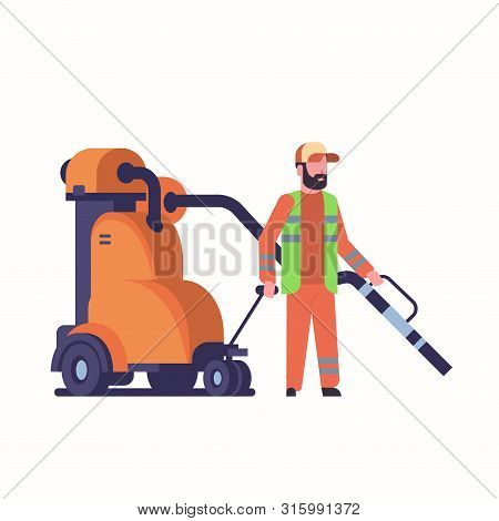Male Street Janitor Using Industrial Vacuum Cleaner Man In Uniform Vacuuming Garbage Streets Cleanin