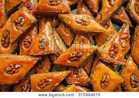 Honey Baklava With Walnuts. Dessert. Tasty Dish. Close-up. Texture