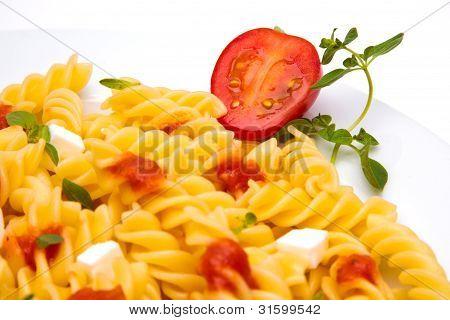 pasta dish with tomato