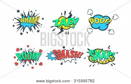 Comic Speech Bubble With Text Set, Comic Sound Effects, Wham, Zap, Poof, Boom, Smash, Snap Vector Il