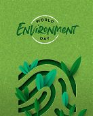 World Environment Day papercut illustration of human finger print with green plant leaves. Ecology awareness concept for special holiday.. poster