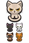 a set of five different adorable cats poster