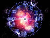 Artistic background for use with projects on astrology child birth fate destiny future prophecy horoscope and occult beliefs made of Zodiac symbols gears lights and abstract design elements poster