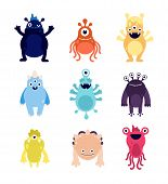 Funny monsters. Cute baby monster aliens bizarre avatars. Crazy hungry halloween animals isolated cartoon vector characters. Illustration bizarre animal alien, funny monster, creature cheerful beast poster