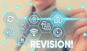 Conceptual hand writing showing Revision. Business photo text action of revising over someone like auditing or accounting Female human wear formal work suit presenting smart device. poster