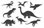 Dinoussaur silhouette set. Mesozoic raptor silhouettes, ancient rex pangolin vector black illustrations poster