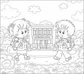 Happily smiling schoolchildren in uniform with schoolbags going to their school for classes, black and white vector illustration in a cartoon style for a coloring book poster