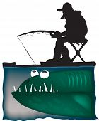 funny Fisherman and big fish color vector illustration. poster