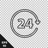 Black line Clock 24 hours icon isolated on transparent background. All day cyclic icon. 24 hours service symbol. Vector Illustration poster