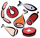 set of editable meat and fish icons collection of symbols poster