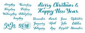 Big Vector Handdrawn Calligraphic Monthly Set With Months, Year 2020 And Days Of Week. Vector