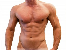 Male Slim Tanned Body With Pronounced Muscles And Veins Isolated On A White Background.