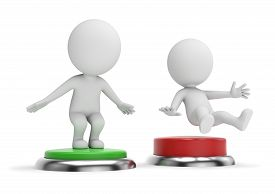 3d Small People - Pressing Green Button By A Jump. 3d Rendering. Isolated On White Background.