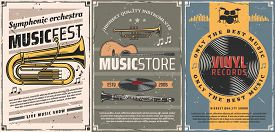 Musical Instruments And Vinyl Records Retro Posters Of Music Store Or Live Concert Design. Vector Gu
