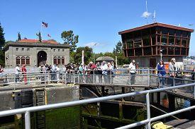 Seattle, Wa - Jul 15: Hiram M. Chittenden Locks (ballard Locks) In Seattle, Washington, As Seen On J