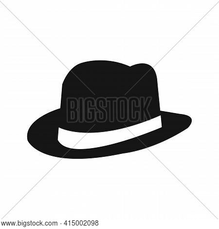 Fedora Hat Icon, Gentlemans Hat Isolated On White. Vector