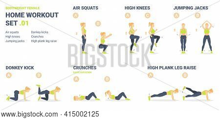 Home Workout Set. Set Of Bodyweight Exercise Guidances For Female Home Workout Without Equipment.