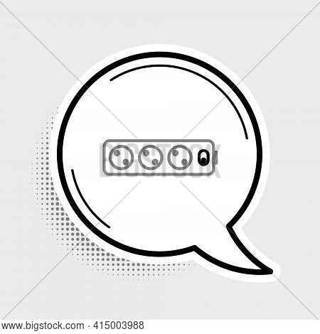 Line Electric Extension Cord Icon Isolated On Grey Background. Power Plug Socket. Colorful Outline C