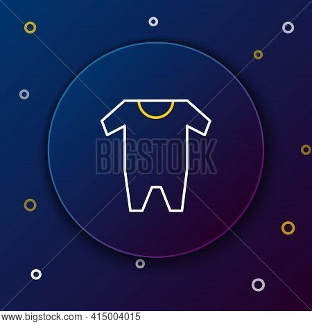 Line Baby Clothes Icon Isolated On Blue Background. Baby Clothing For Baby Girl And Boy. Baby Bodysu