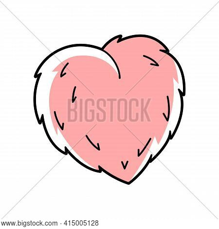 Illustration Of Cute Pink Fluffy Heart. Cartoon Icon.
