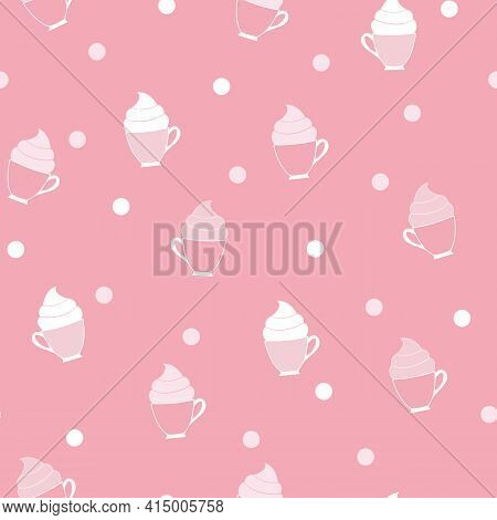 Coffee, Tea, Cocoa Cups With Whipped Frosting On Coral Pink Background Pattern