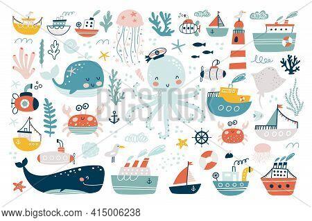 Marine Animals Set. Undersea World Inhabitants. Оctopus, Whale, Fish, Crab, Sea Transport. Vector Il