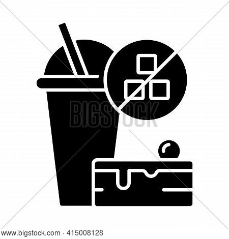 No Added Sugar Black Glyph Icon. Healthy Food. Weight Loss. Stop Overeating. Unhealthy Junk Food. No