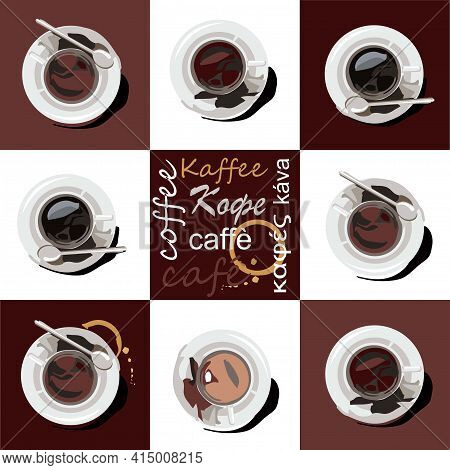 Cups Of Coffee And Cocoa Are On Saucers. The Cups Are Located On A Brown And White Background. In Th