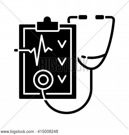 Regular Health Checkups Black Glyph Icon. Hospital Check. Clinical Examination. Therapist Diagnosis