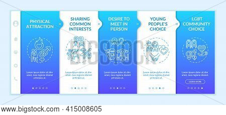 Online Dating Reasons Onboarding Vector Template.responsive Mobile Website With Icons. Web Page Walk