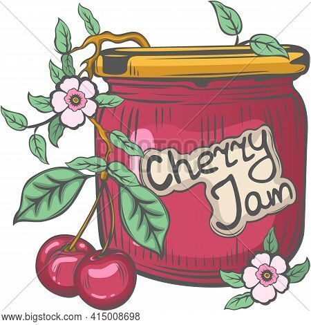 Cherry Jam Jar With Berries And Floral Branch In Vintage Style. Vector Image