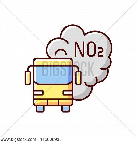 Trucks And Buses Rgb Color Icon. Main Source Of Nitrogen Dioxide Resulting From Combustion Of Fossil