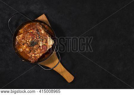 Flat Lay Lasagna Dish. High Quality And Resolution Beautiful Photo Concept
