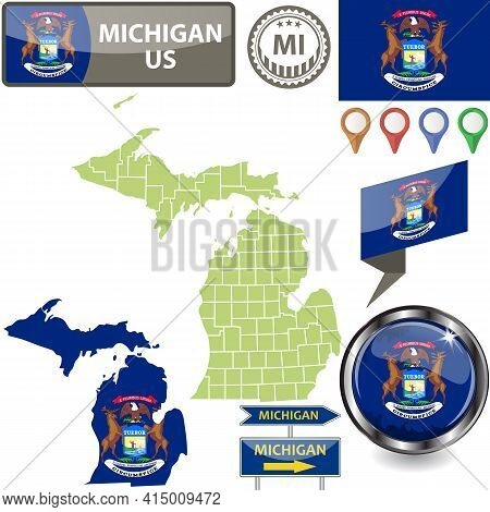 Map Of Michigan State, Us With Flag And Counties. Vector Image