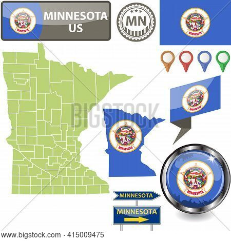 Map Of Minnesota State, Us With Flag And Counties. Vector Image