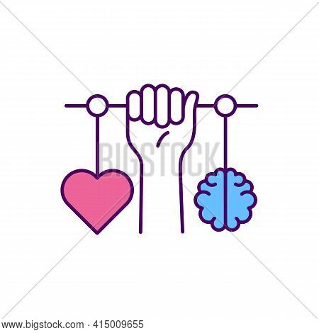 Emotional Intelligence Rgb Color Icon. Balance Between Heart And Brain. Psychological Development. S