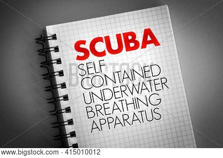 Scuba - Self-contained Underwater Breathing Apparatus Acronym With Marker, Concept Background
