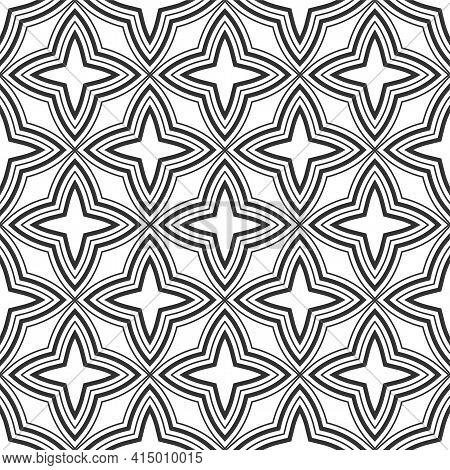 Abstract Vintage Geometric Seamless Pattern. Geometric Lattice. Four Pointed Stars Ornament. Vector