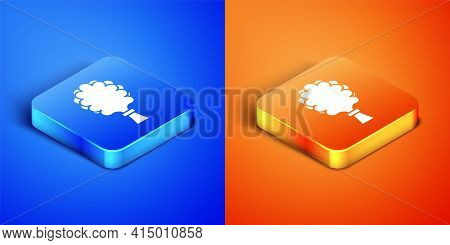 Isometric Sauna Broom Icon Isolated On Blue And Orange Background. Broom From Birch Twigs, Branches